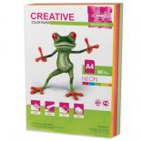 Бумага CREATIVE color (Креатив), А4, 80 г/м2, 250 л. (5 цв. х 50 л.), цветная неон, БНpr-250r
